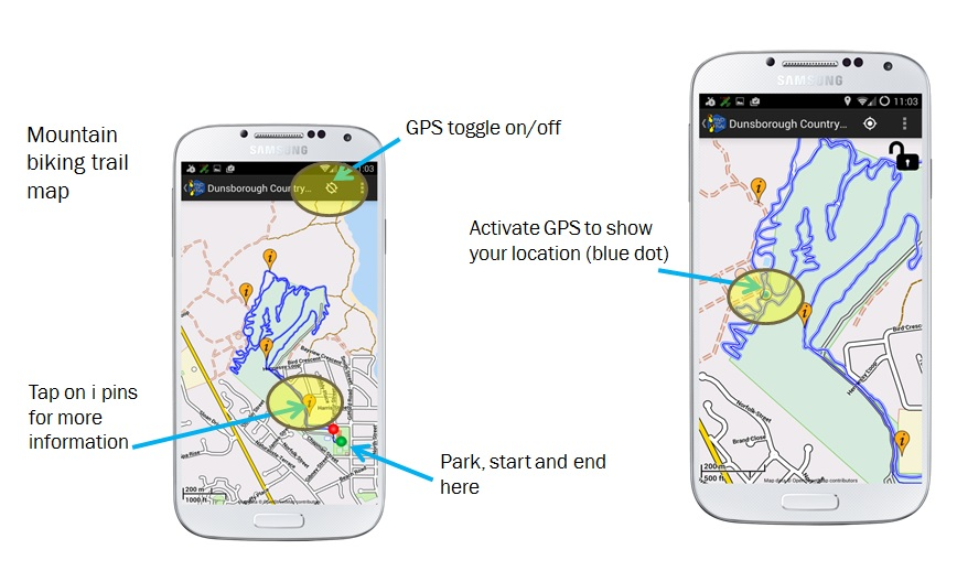 GPS showing your location on a mountain bike trail